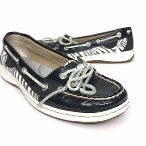 Sperry Angelfish Zebra Leather Black Shoes